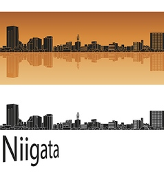 Niigata skyline in orange vector image