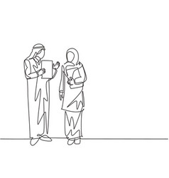 One single line drawing young muslim manager vector