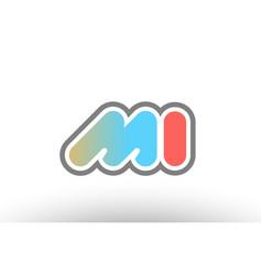 Orange pastel blue alphabet letter mi m i logo vector