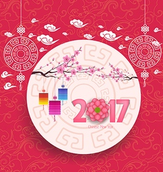 Oriental Chinese New Year 2017 blossom and lantern vector