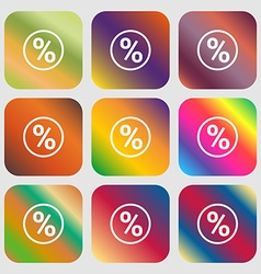 percentage discount icon Nine buttons with bright vector image