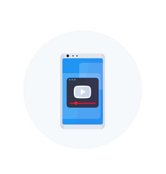 play video player on smartphone screen icon vector image