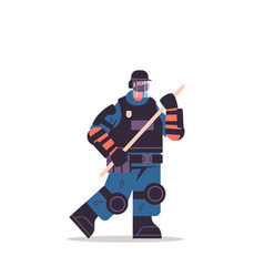 policeman in full tactical gear holding baton riot vector image