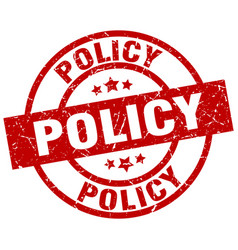 Policy round red grunge stamp vector