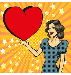 pop art happy woman in love vector image