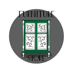 poster furniture store green wooden chest of vector image