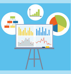 presentation board with statistical data graphs vector image
