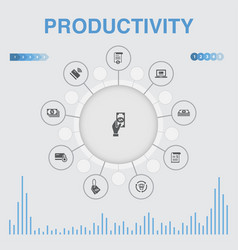 Productivity infographic with icons contains such vector