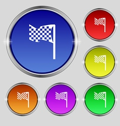 Racing flag icon sign Round symbol on bright vector