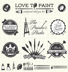 Retro Artist and Painter Labels and Icons vector