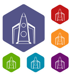 Rocket icons set vector