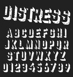 rough alphabet font template vector image