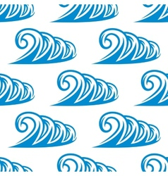 Seamless pattern of curling blue ocean waves vector image