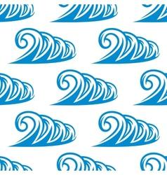 Seamless pattern of curling blue ocean waves vector
