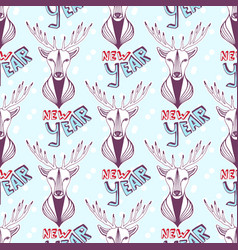 Seamless pattern with christmas deer and new year vector