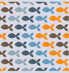 seamless pattern with colorful fish vector image