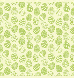 seamless pattern with doodle easter eggs on green vector image