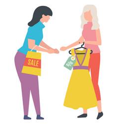 Seller holding hanger with dress sale vector