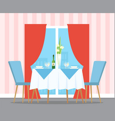 Served table for couple indoor glasses vector