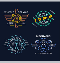 set car service and repair badge design vector image
