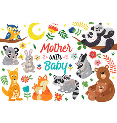 Set isolated animals mother with baby part 2 vector