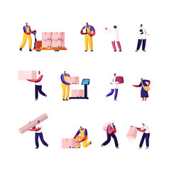 Set male and female characters freight vector