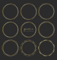 Set of golden round frames for decoration vector