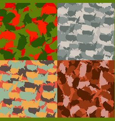 set usa shape camo seamless pattern colorful vector image