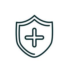 Shield cross medical icon line vector