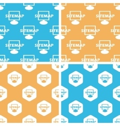 Sitemap pattern set colored vector image