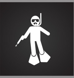 Speargun hunting icon on black background for vector