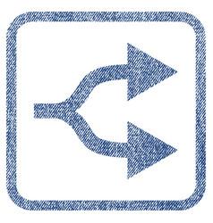 Split arrows right fabric textured icon vector