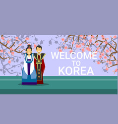 Travel to south korea banner happy korean coupe vector