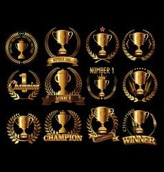trophy retro golden laurel wreath colllection vector image