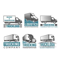 Truck logo business symbols emblems of vector