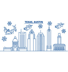 Usa california austin winter city skyline merry vector