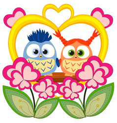 valentine day colorful poster with an owl couple vector image