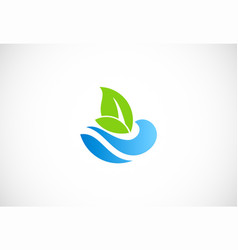 water ecology green leaf nature logo vector image