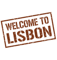 Welcome to lisbon stamp vector