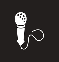 white icon on black background microphone vector image