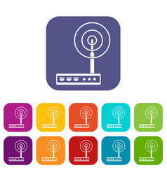 wifi router icons set flat vector image