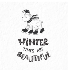 Winter postcard with quotes and phrases funny vector