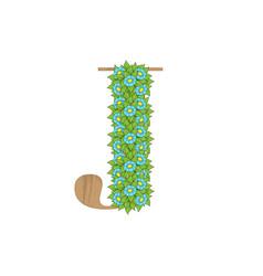 wooden leaves letter j vector image