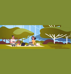 young t students couple sitting on grass teenage vector image