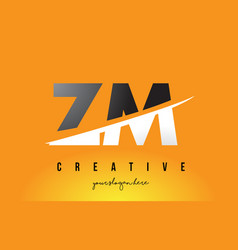 Zm z m letter modern logo design with yellow vector