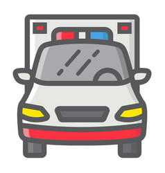 ambulance filled outline icon transport vehicle vector image vector image