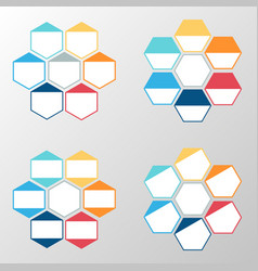 Business infographic hexagon set vector