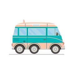 cartoon transportbus with surfboard vector image