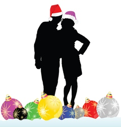 Couple with decoration ball vector
