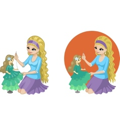 Cute young caucasian woman hobbyist sewing gown vector